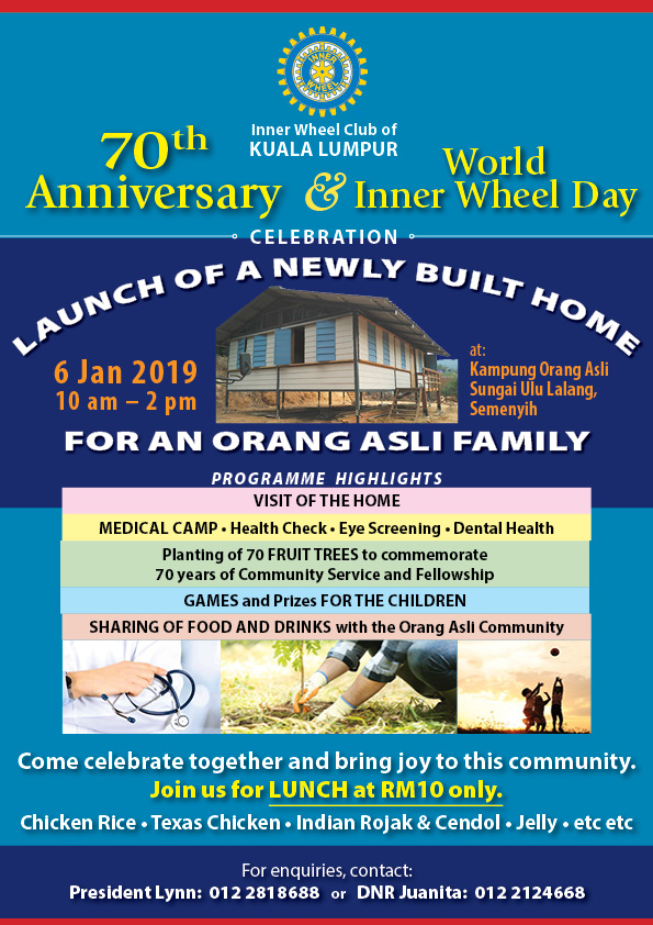 Announcement from IWC Kuala Lumpur. Launch of A Newly Built Home for an Orang Asli Family